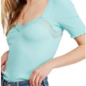 Free People Margaux Top in Turquoise Size XS, NWT